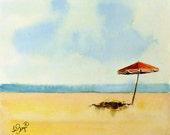 Beach Art Original Watercolor Painting : Autumn Apartment Dorm Men Women Kids Yellow and Black 8 x 9.5  Price Under 50