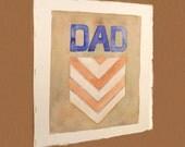 Dad Geometric Art Original Watercolor Painting Chevron Stripes Blue Words Letters Children Men Women Home Decor Wall Decor 8 x 10 Under 60