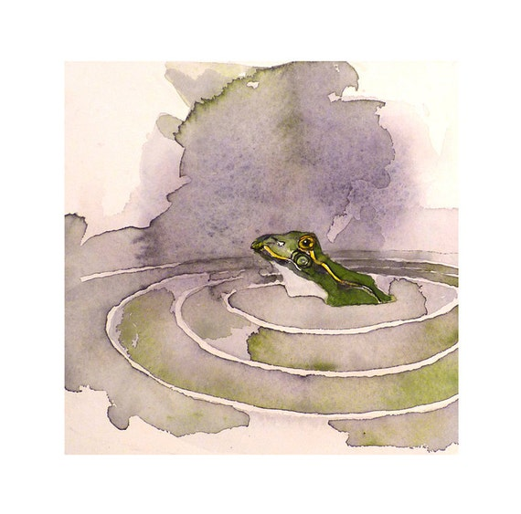 Green Frog Art Original Watercolor Painting Autumn Fall Children Women Nursery Home Decor Wall Decor Woodland Creature 6.5 x 6.5 Under 50