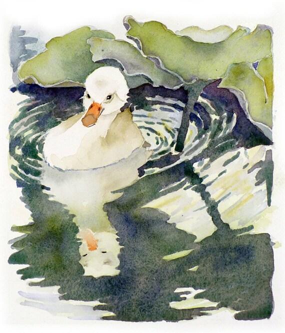 Swan PRINT Watercolor Painting Bird Art / Baby woodland creature nature wildlife waterfowl / Green garden wall artwork / Trumpeter swan