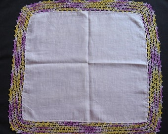 CLEARANCE Yellow and Purple Hand Crocheted Cotton Hankie
