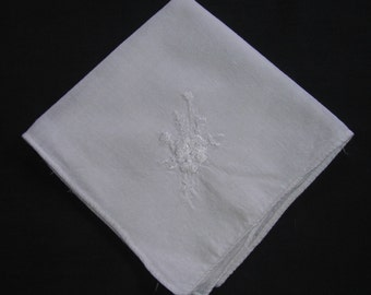 CLEARANCE White Floral on White Handkerchief