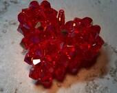 Red Glittering Swarovski Woven Heart Pendant