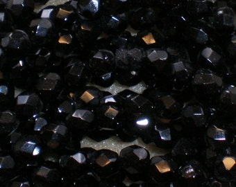 6mm Black Fire Polish Glass Beads 6 Inch Strand