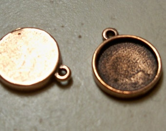 Two - 14mm Round Antique Copper Bezels for Resin Pendants