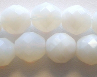 12mm White Faceted Czech Bead