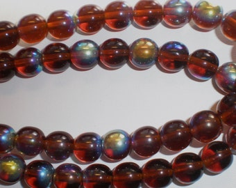 10mm Root Beer AB Czech Glass Beads 9 Inch Strand