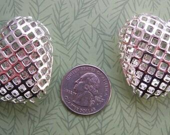 Shiny Silver Plate Mesh Heart Pendant