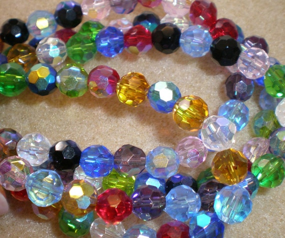 4mm Multi-Colored Fire Polished Glass Bead 8 Inch Strand