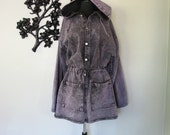 1990's purple denim drawstring jacket - size L