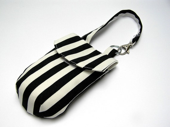 Camera or cell phone pouch with strap, black and white stripes
