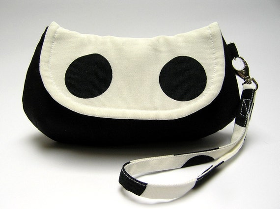 The Smiling Purse small flap wristlet clutch, polka dot