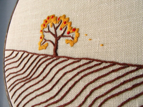 Apple Tree, Autumn hand embroidered original wall art
