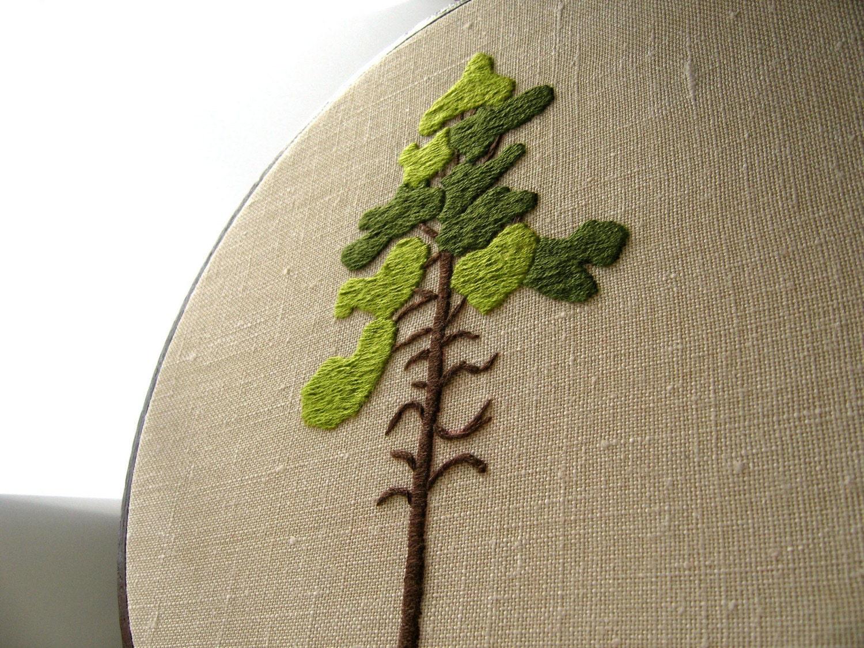 Pine tree hand embroidered original fiber art