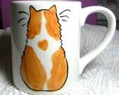 Orange and White Cat  Mug Ceramic Original 12 Oz. Handmade by GMS