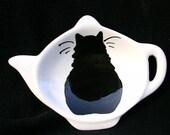Black Cat Tea Bag Holder Handmade Ceramic by Grace M. Smith
