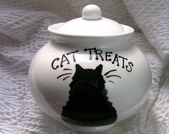 Black Cat On Ceramic Treat Jar With Lid Handmade by Grace M Smith