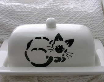 Siamese Cat Stencil Design On Butter Dish Ceramic Handpainted Original by Grace M Smith