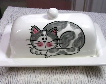 Grey Tabby Cat On Ceramic Butter Dish Handpainted Original by Grace M Smith