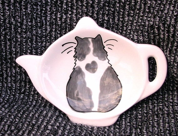 Teabag Holder Grey and White Cat with Heart Handmade by Grace M Smith
