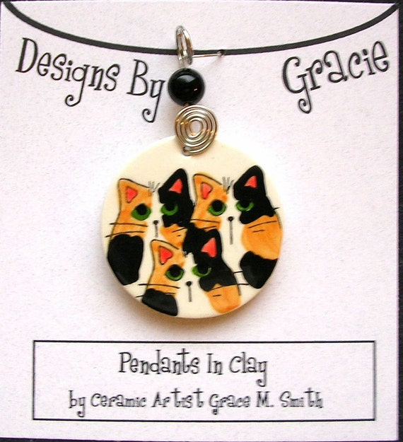 Calico Cat Trio On Clay Pendant with Bead & Wire Wrap