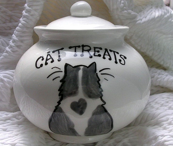 Grey And White Cat with Heart Ceramic Cat Treat Jar With Lid Handmade  by Gracie