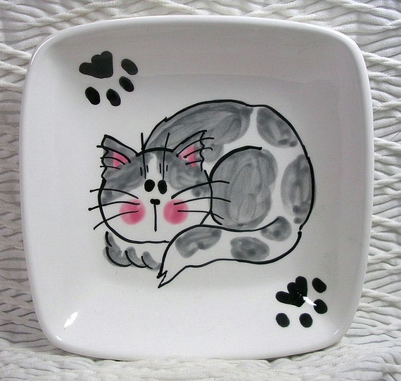 Grey & White Cat with Paw Prints On Square Ceramic Dish / Bowl