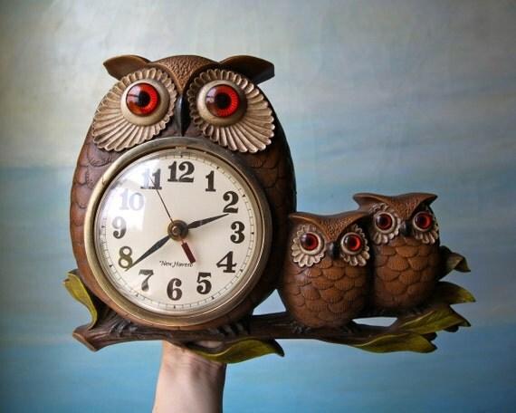 Owl Family Wall Clock. Retro Plastic Awesomeness