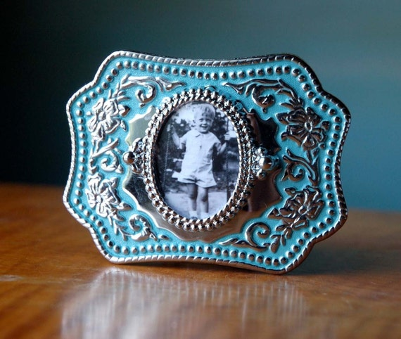 Custom Belt Buckle. Vintage Buckle w Your Photo. Great Gift. Turquoise and Silver