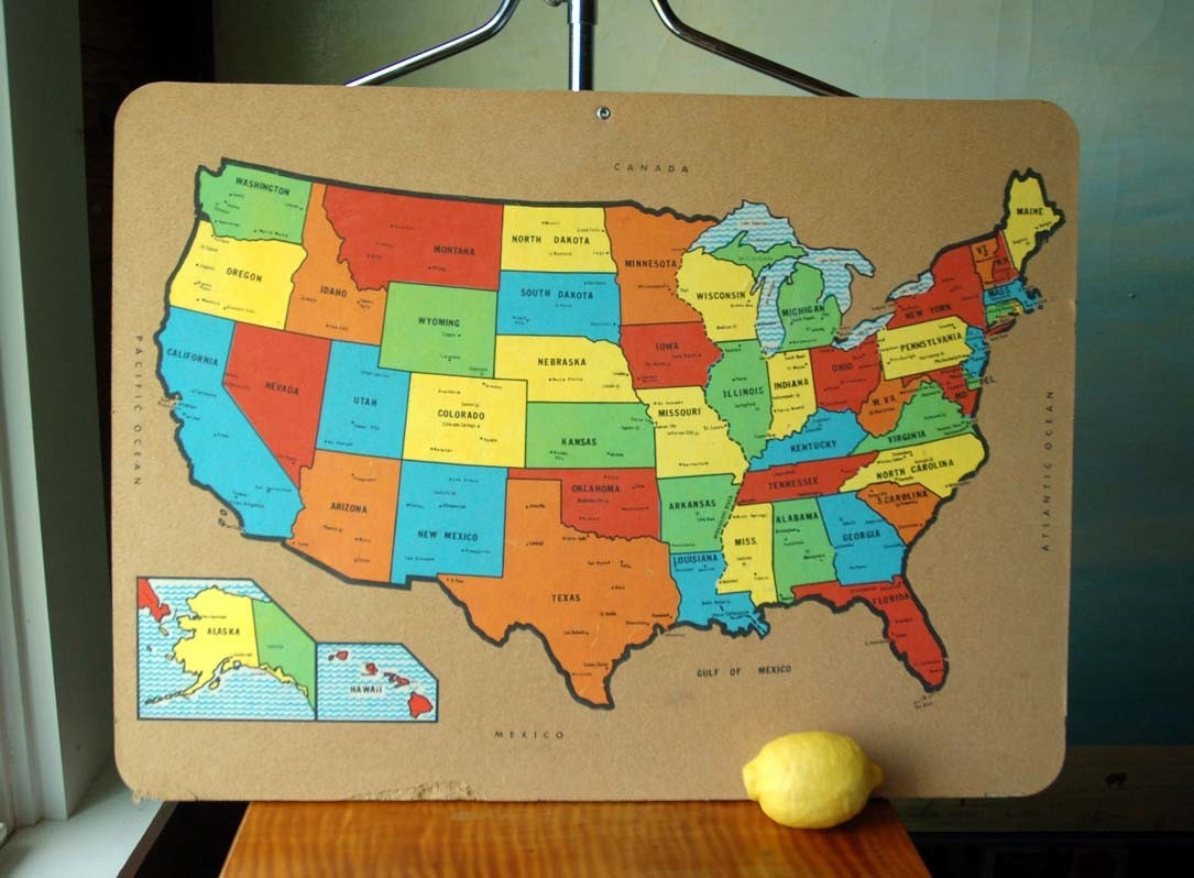 Cork Usa Map Bulletin Board  Vintage Educational Display