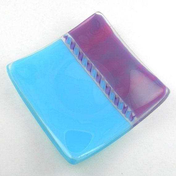 Colorful Square Fused Glass Plate Dish in Aqua Blue and Plum Purple