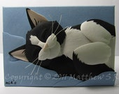 Sleeping TUXEDO CAT Paper Sculpture ACEO by Matthew Ross