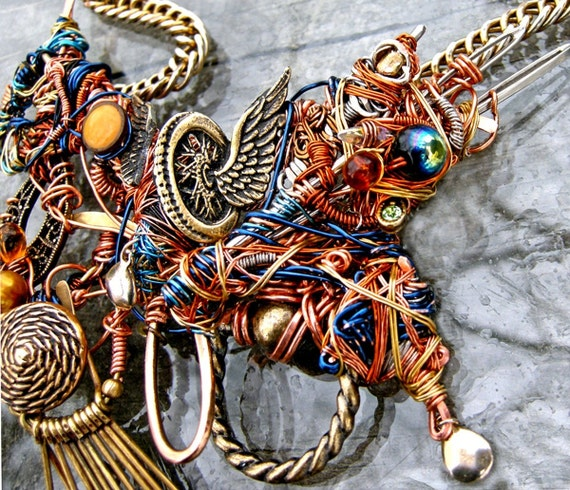 Steampunk Surrealist Statement Necklace