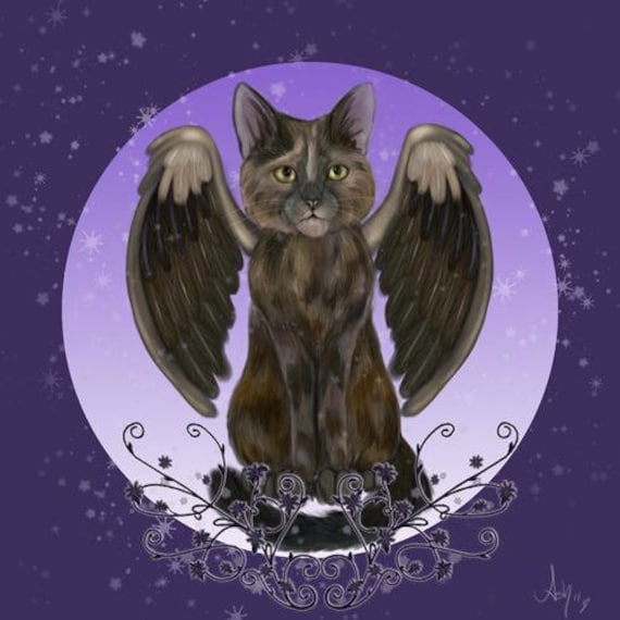 Ash Evans Angel tortie cat print