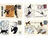 INSTANT Digital Download Halloween RETRO BEWITCHED Chic PArty Witch  Broom Printable Cat Papercrafts Scrapbooking Cardmaking Invitations