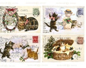 Instant Download CHRISTMAS DIGITAL CATS Printable digital Vintage Postcard Papercrafts Scrapbooking Card making Invitations