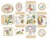 instant Digital GIFT BOX  EASTER  Tags Vintage Printable Template Vintage Easter  Bunny Chicks Children