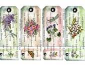 Instant DIGITAL DOWNLOAD GARDEN Tags Summer Spring Printable Scrapbook Birthday Flowers Butterfly Dragonflies Party Cardmaking Journal