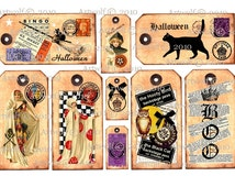 Instant Download Halloween DIGITAL Printable VINTAGE Tags Cat Owl  Scrapbook Party Cardmaking 9 Different Tags