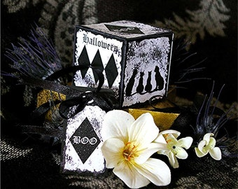 Black and White Halloween Vintage Style Box Digital Template and Tags