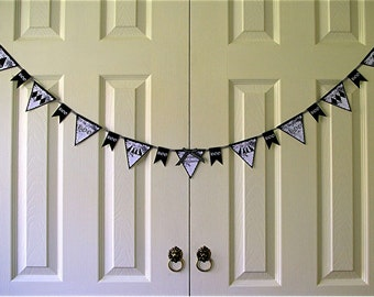 Halloween Pennant Banner Digital Download, Black and White Cats,Diamonds, Boo