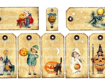 Instant Download HALLOWEEN Digital TAGs Pumpkins, Vintage Style Children Witches Digital Download  8  Different Designs