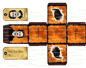 Instant Download Halloween Edgar Allan Poe  Raven Nevermore Digital Box Template Tags Vintage Style