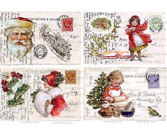 Instant Download CHRISTMAS DIGITAL Santa Children Printable Postcard Papercrafts Scrapbooking Cardmaking Invitations Digital Christmas