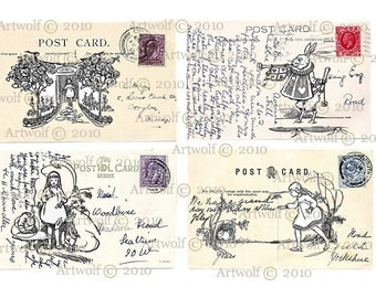 Instant Digital Download WONDERLAND ALICE  Printable Vintage POSTCARDs Papercrafts Card making Invitations
