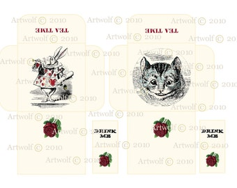Instant Digital Download WonDerLanD TEATIME TEABAG White Rabbit Cheshire Cat  Drink Me Envelope Papercrafts Scrapbooking Cardmaking