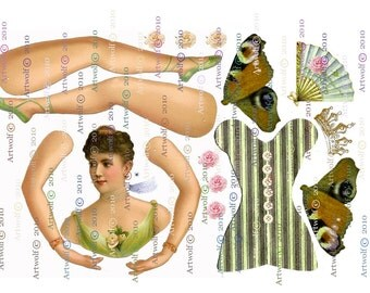 Instant Download  DIGITAL PAPER DOLL  Vintage Green Ballerina  Wings Download  Papercrafts  Scrapbooking Cardmaking
