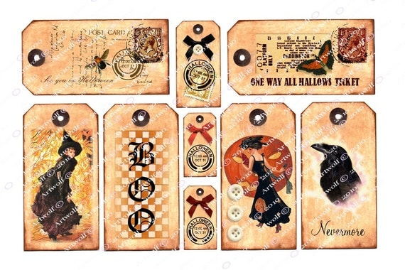 Instant Download Halloween Digital Tags Printable Scrapbook Party Card Tags Journal Witches Poe Raven 9 Different Tags