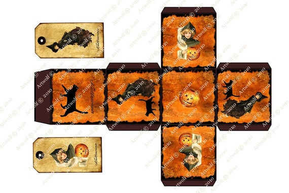 Instant Digital Download HALLOWEEN WITCH BOX Tags  Cat Template Tags Vintage Style