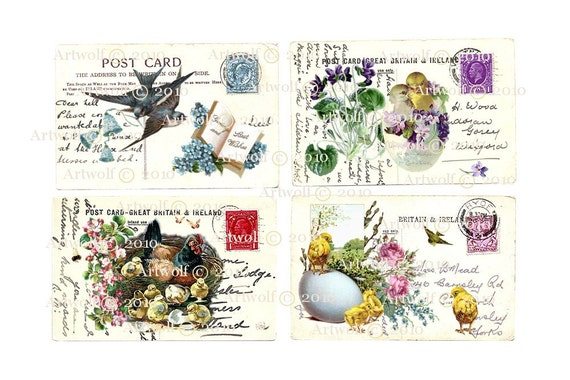 Instant EASTER  DIGITAL DOWNLOAD Spring  Easter eggs Chicks  Birds BIrTHDay Printable Vintage Postcard Papercrafts Scrapbooking Cardmaking
